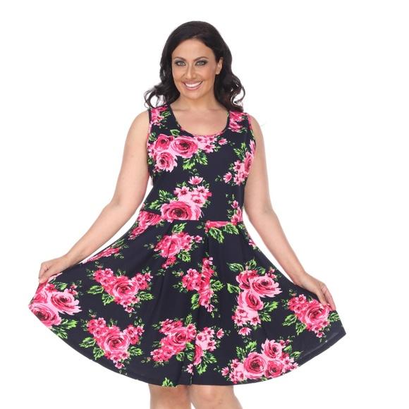 7d49026e41a White Mark Dresses | Plus Size Floral Print Dress Fitted Midi ...